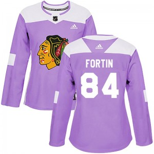 Women's Chicago Blackhawks Alexandre Fortin Adidas Authentic Fights Cancer Practice Jersey - Purple