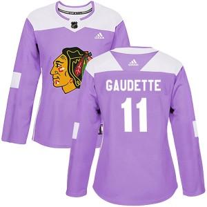 Women's Chicago Blackhawks Adam Gaudette Adidas Authentic Fights Cancer Practice Jersey - Purple