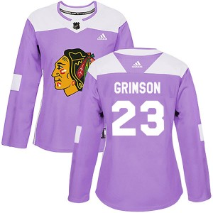 Women's Chicago Blackhawks Stu Grimson Adidas Authentic Fights Cancer Practice Jersey - Purple