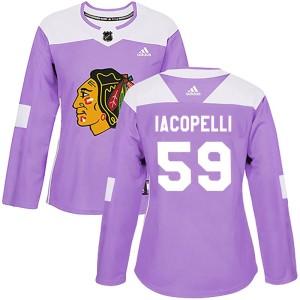 Women's Chicago Blackhawks Matt Iacopelli Adidas Authentic Fights Cancer Practice Jersey - Purple