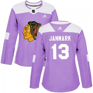 Women's Chicago Blackhawks Mattias Janmark Adidas Authentic Fights Cancer Practice Jersey - Purple