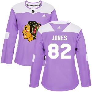 Women's Chicago Blackhawks Caleb Jones Adidas Authentic Fights Cancer Practice Jersey - Purple