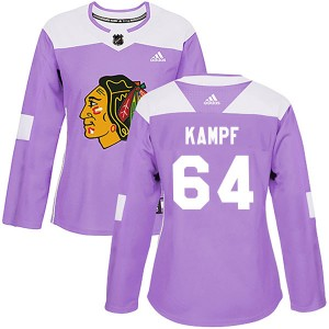 Women's Chicago Blackhawks David Kampf Adidas Authentic Fights Cancer Practice Jersey - Purple