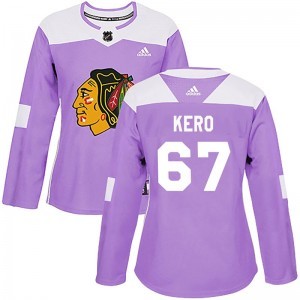 Women's Chicago Blackhawks Tanner Kero Adidas Authentic Fights Cancer Practice Jersey - Purple