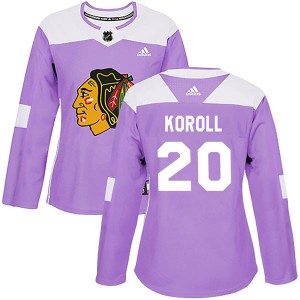 Women's Chicago Blackhawks Cliff Koroll Adidas Authentic Fights Cancer Practice Jersey - Purple