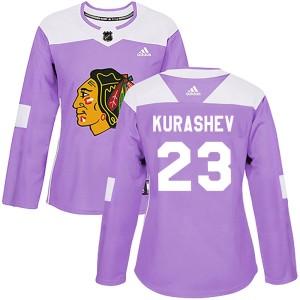 Women's Chicago Blackhawks Philipp Kurashev Adidas Authentic Fights Cancer Practice Jersey - Purple
