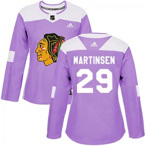 Women's Chicago Blackhawks Andreas Martinsen Adidas Authentic Fights Cancer Practice Jersey - Purple