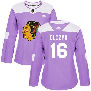 Women's Chicago Blackhawks Ed Olczyk Adidas Authentic Fights Cancer Practice Jersey - Purple