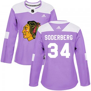 Women's Chicago Blackhawks Carl Soderberg Adidas Authentic Fights Cancer Practice Jersey - Purple