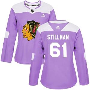 Women's Chicago Blackhawks Riley Stillman Adidas Authentic Fights Cancer Practice Jersey - Purple