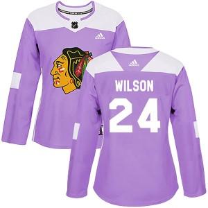 Women's Chicago Blackhawks Doug Wilson Adidas Authentic Fights Cancer Practice Jersey - Purple