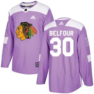 Men's Chicago Blackhawks ED Belfour Adidas Authentic Fights Cancer Practice Jersey - Purple