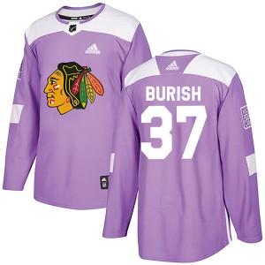 Men's Chicago Blackhawks Adam Burish Adidas Authentic Fights Cancer Practice Jersey - Purple