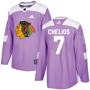 Men's Chicago Blackhawks Chris Chelios Adidas Authentic Fights Cancer Practice Jersey - Purple