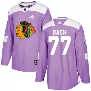 Men's Chicago Blackhawks Kirby Dach Adidas Authentic Fights Cancer Practice Jersey - Purple