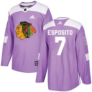 Men's Chicago Blackhawks Phil Esposito Adidas Authentic Fights Cancer Practice Jersey - Purple