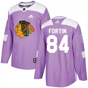 Men's Chicago Blackhawks Alexandre Fortin Adidas Authentic Fights Cancer Practice Jersey - Purple