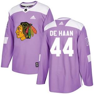 Men's Chicago Blackhawks Calvin de Haan Adidas Authentic Fights Cancer Practice Jersey - Purple