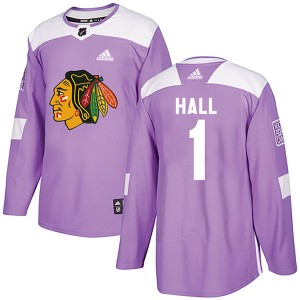 Men's Chicago Blackhawks Glenn Hall Adidas Authentic Fights Cancer Practice Jersey - Purple