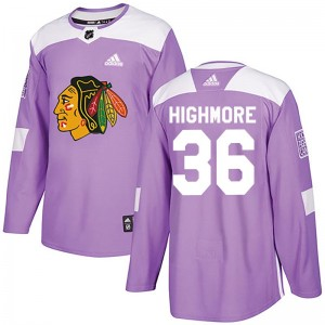 Men's Chicago Blackhawks Matthew Highmore Adidas Authentic Fights Cancer Practice Jersey - Purple