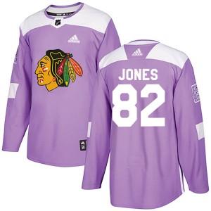 Men's Chicago Blackhawks Caleb Jones Adidas Authentic Fights Cancer Practice Jersey - Purple