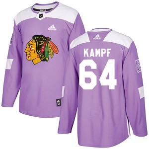 Men's Chicago Blackhawks David Kampf Adidas Authentic Fights Cancer Practice Jersey - Purple