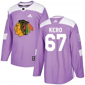 Men's Chicago Blackhawks Tanner Kero Adidas Authentic Fights Cancer Practice Jersey - Purple