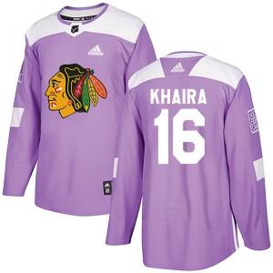 Men's Chicago Blackhawks Jujhar Khaira Adidas Authentic Fights Cancer Practice Jersey - Purple