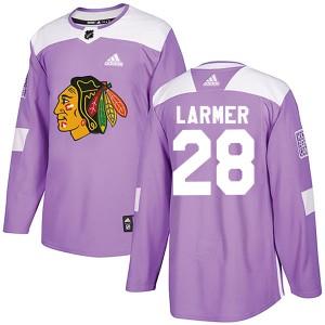 Men's Chicago Blackhawks Steve Larmer Adidas Authentic Fights Cancer Practice Jersey - Purple