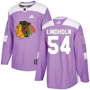 Men's Chicago Blackhawks Anton Lindholm Adidas Authentic Fights Cancer Practice Jersey - Purple