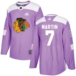 Men's Chicago Blackhawks Pit Martin Adidas Authentic Fights Cancer Practice Jersey - Purple