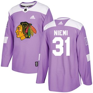 Men's Chicago Blackhawks Antti Niemi Adidas Authentic Fights Cancer Practice Jersey - Purple