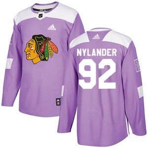 Men's Chicago Blackhawks Alexander Nylander Adidas Authentic Fights Cancer Practice Jersey - Purple