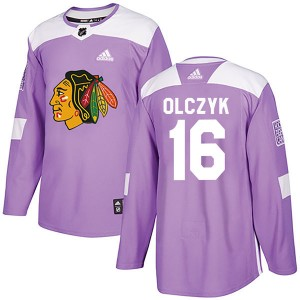 Men's Chicago Blackhawks Ed Olczyk Adidas Authentic Fights Cancer Practice Jersey - Purple