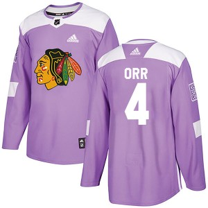 Men's Chicago Blackhawks Bobby Orr Adidas Authentic Fights Cancer Practice Jersey - Purple