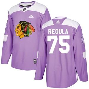Men's Chicago Blackhawks Alec Regula Adidas Authentic Fights Cancer Practice Jersey - Purple