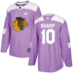 Men's Chicago Blackhawks Patrick Sharp Adidas Authentic Fights Cancer Practice Jersey - Purple
