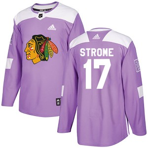 Men's Chicago Blackhawks Dylan Strome Adidas Authentic Fights Cancer Practice Jersey - Purple