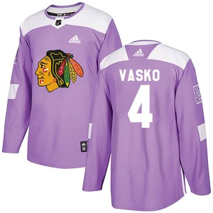 Men's Chicago Blackhawks Elmer Vasko Adidas Authentic Fights Cancer Practice Jersey - Purple