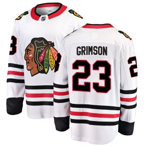 Youth Chicago Blackhawks Stu Grimson Fanatics Branded Breakaway Away Jersey - White
