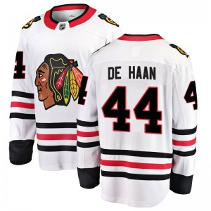 Youth Chicago Blackhawks Calvin de Haan Fanatics Branded Breakaway Away Jersey - White