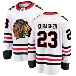 Youth Chicago Blackhawks Philipp Kurashev Fanatics Branded Breakaway Away Jersey - White