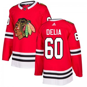 Youth Chicago Blackhawks Collin Delia Adidas Authentic Home Jersey - Red