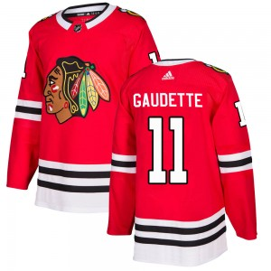 Youth Chicago Blackhawks Adam Gaudette Adidas Authentic Home Jersey - Red