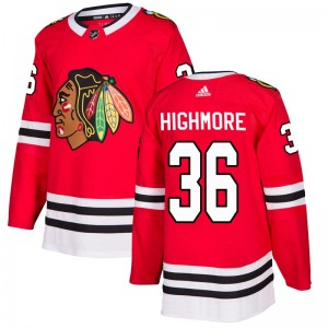 Youth Chicago Blackhawks Matthew Highmore Adidas Authentic Home Jersey - Red