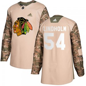 Men's Chicago Blackhawks Anton Lindholm Adidas Authentic Veterans Day Practice Jersey - Camo