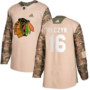 Men's Chicago Blackhawks Ed Olczyk Adidas Authentic Veterans Day Practice Jersey - Camo