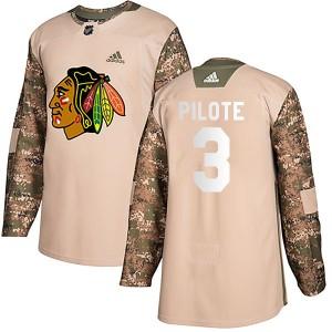 Men's Chicago Blackhawks Pierre Pilote Adidas Authentic Veterans Day Practice Jersey - Camo