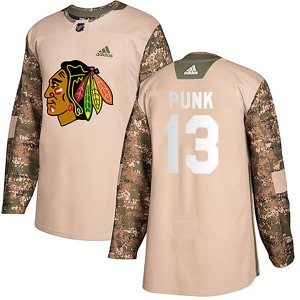 Men's Chicago Blackhawks CM Punk Adidas Authentic Veterans Day Practice Jersey - Camo