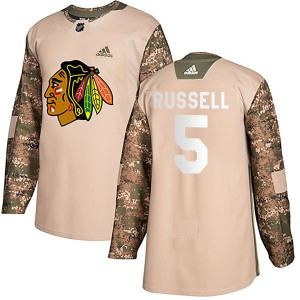 Men's Chicago Blackhawks Phil Russell Adidas Authentic Veterans Day Practice Jersey - Camo